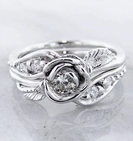 Signature Rose Diamond White Gold Wedding Ring Set, Prize Tea Rose