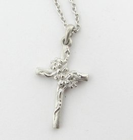 Organic Silver Cross Necklace, Daisy Vine