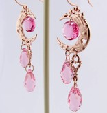 Organic Rose Gold Crystal Dangle Earrings, Pink Moon