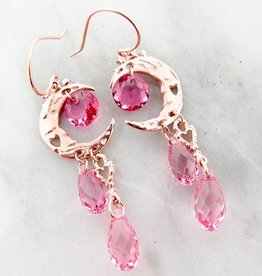 Organic Rose Gold Crystal Dangle Earrings, Pink Moon