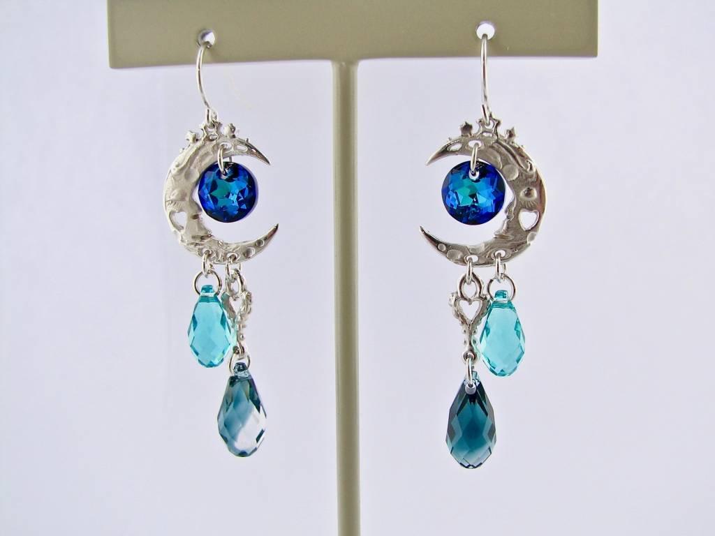 Organic Silver Crystal Dangle Earrings, Blue Moon