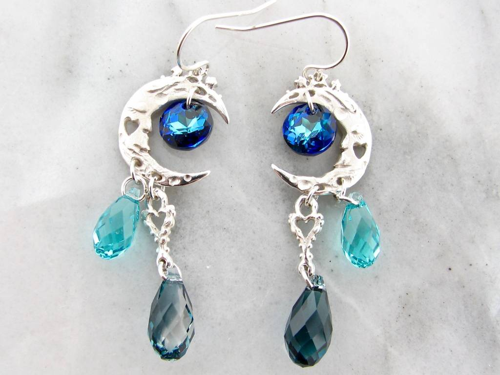 Organic Silver Crystal Dangle Earrings, Blue Moon