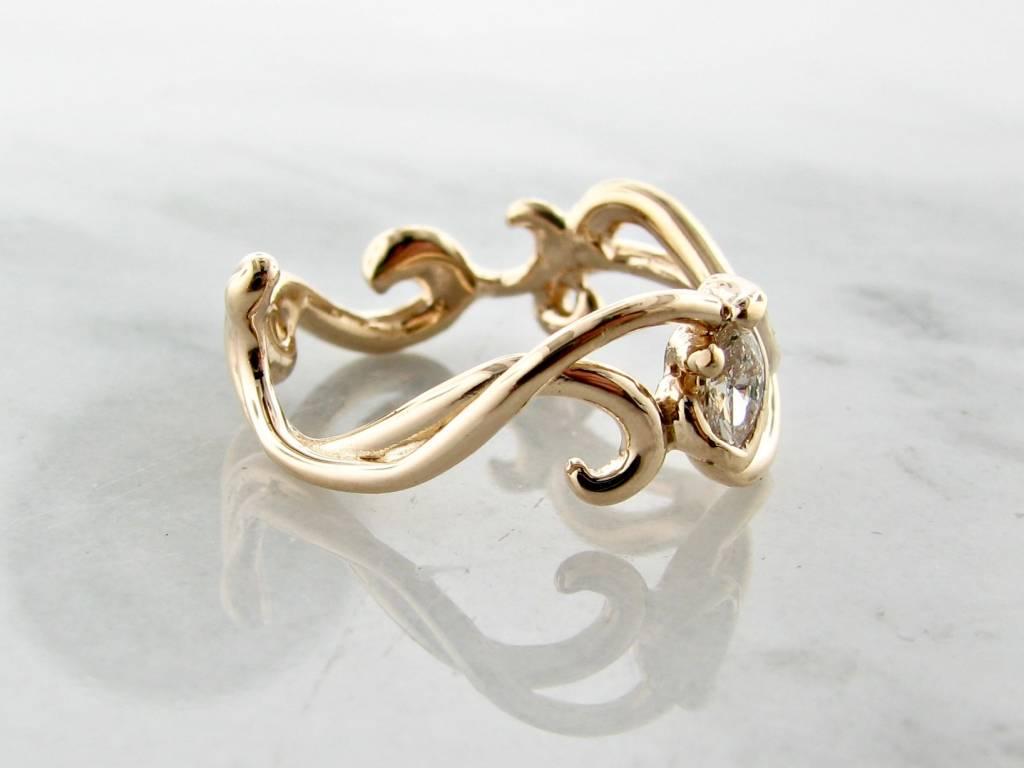 Sleek Yellow Gold Marquise Diamond Ring, Gentle