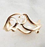 Sleek Yellow Gold Marquise Diamond Ring, Gentle