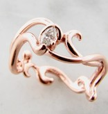 Sleek Rose Gold Marquise Diamond Ring, Gentle