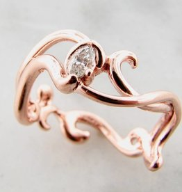 Sleek Rose Gold Marquise Diamond Ring, Gentle