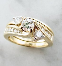 Timeless Bridal Yellow Gold Three Stone Diamond Ring, Trio Bypass