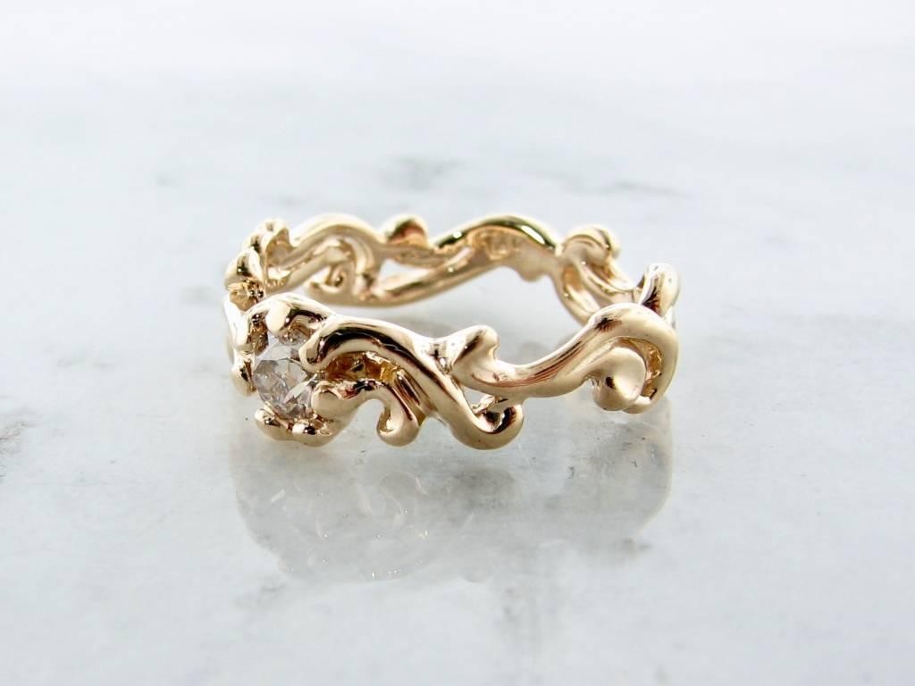 Motion Yellow Gold Euro Cut Diamond Ring, Cirrus Band
