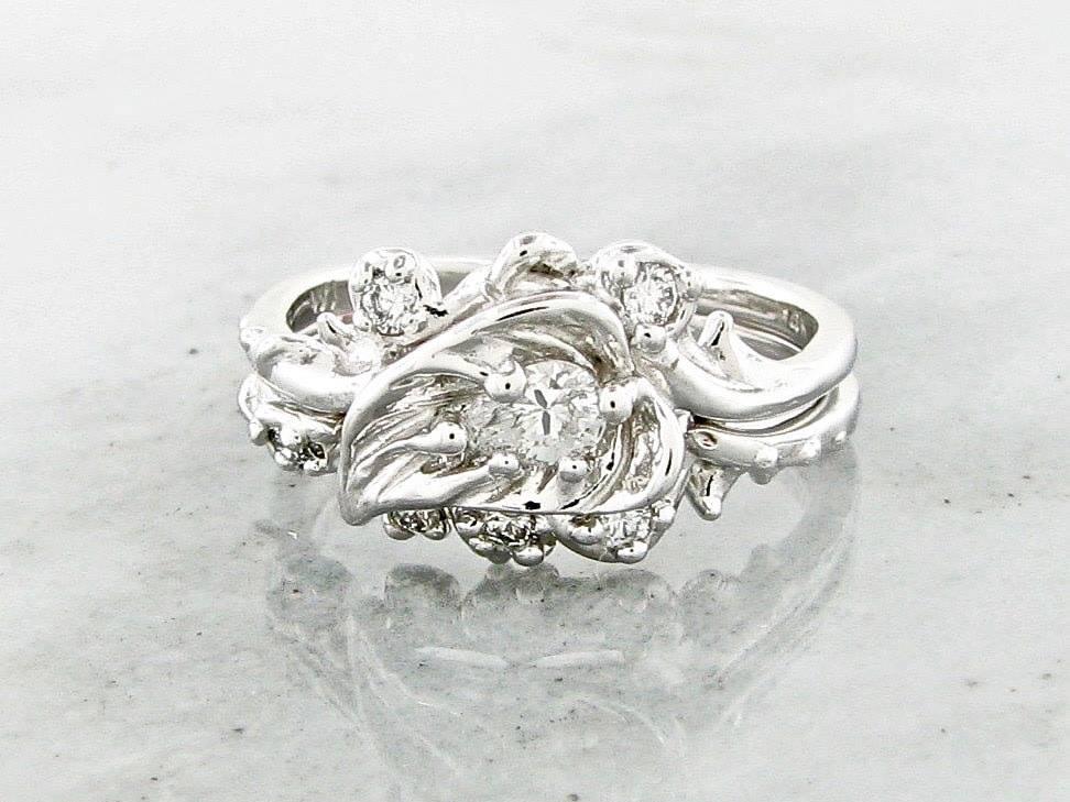 Organic White Gold Diamond Wedding Ring Set, Thorny Brambly Leaf