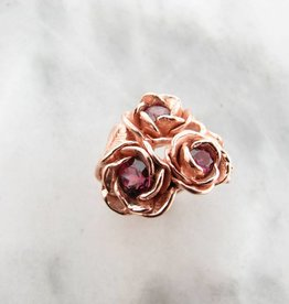 Signature Rose Rhodolite Garnet Rose Gold Ring, Blossoming Roses