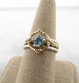 Motion Blue White Topaz Diamond 18K Yellow Gold Silver Wedding Ring Set, Compass
