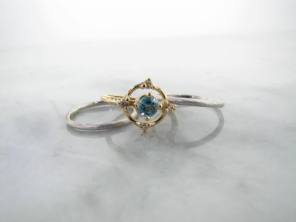 Blue White Topaz Diamond 18K Yellow Gold Silver Wedding Ring Set ...