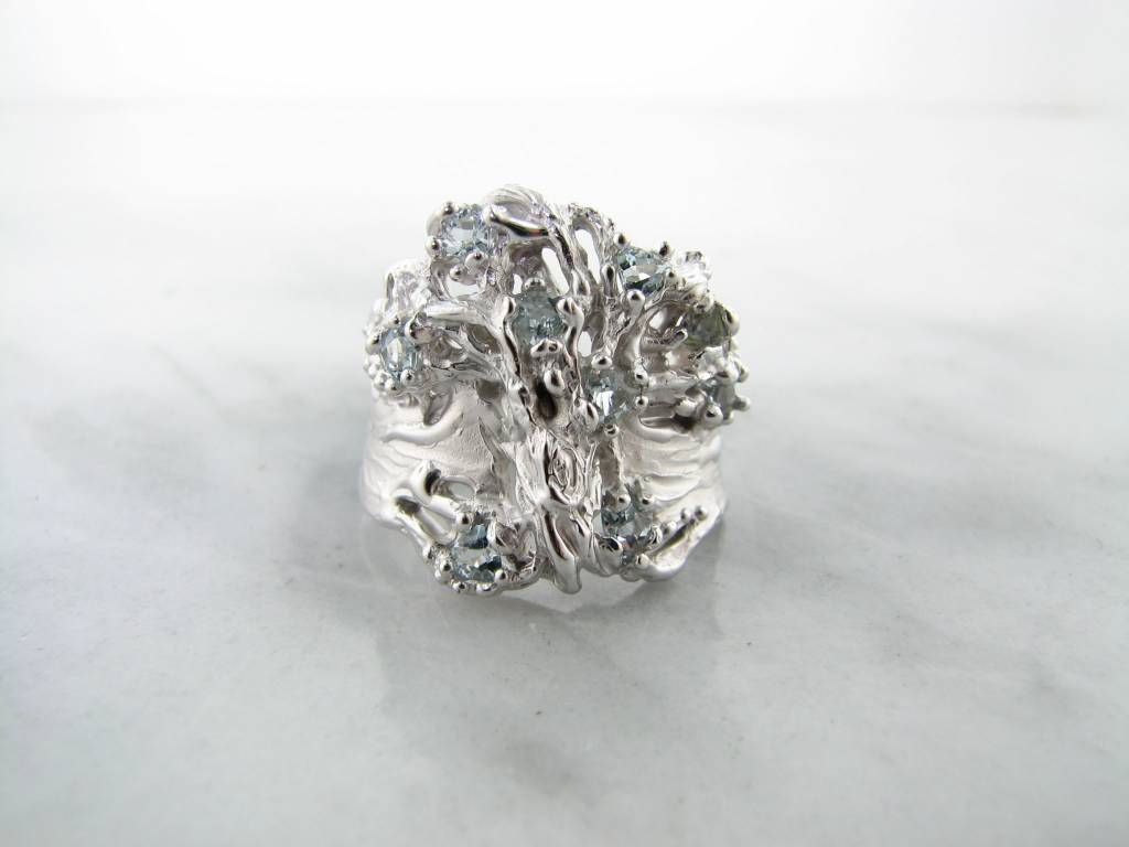 Organic Trillion Cut Aquamarine Silver Ring, Tree of Life
