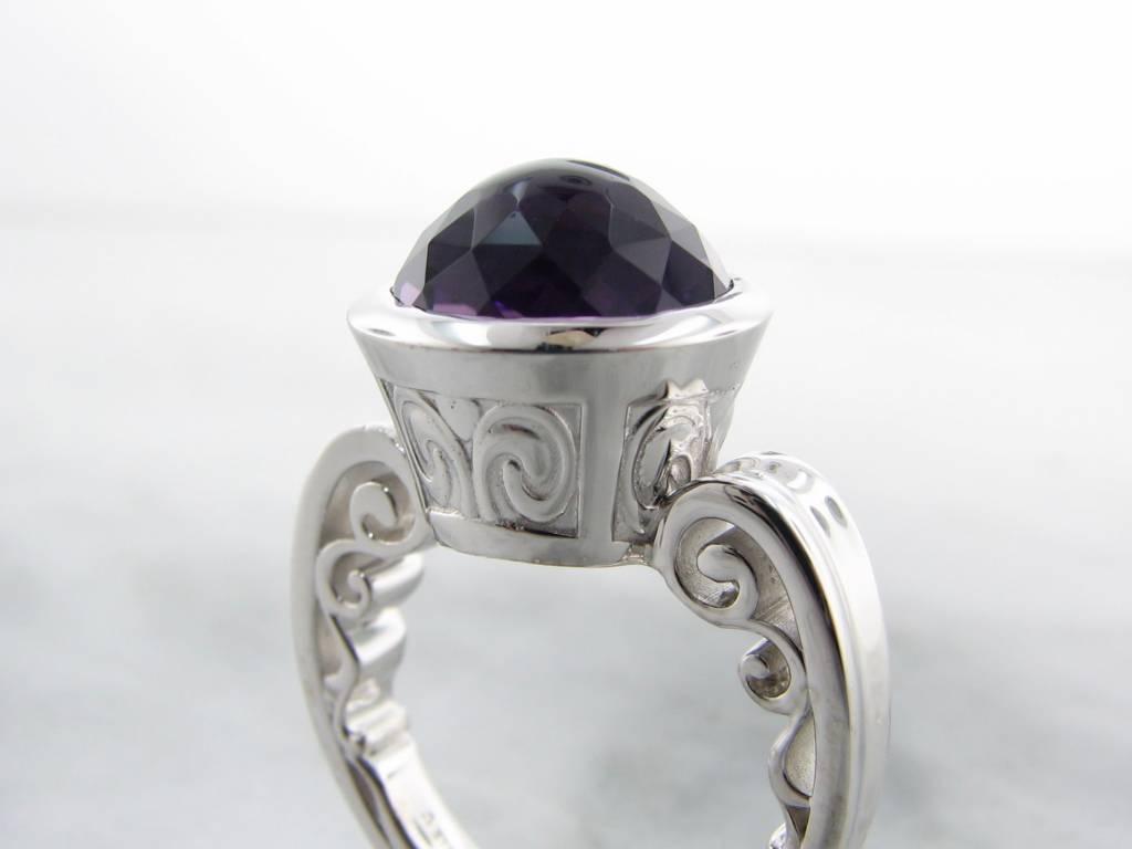Vintage Fantasy Cut Amethyst Silver Ring, Greek Monument