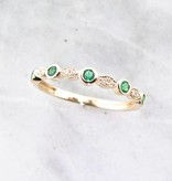 Vintage Emerald Diamond Yellow Gold Stacking Ring, Tempo