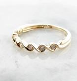 Timeless Bridal Yellow Gold Band Diamond Stacking Ring, Golden Twist
