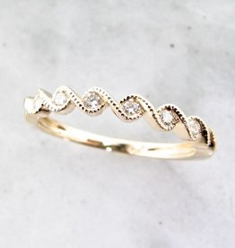 Timeless Bridal Yellow Gold Band Diamond Stacking Ring, Golden Twist