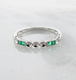 Vintage Emerald Diamond Band White Gold Stacking Ring, Diadem