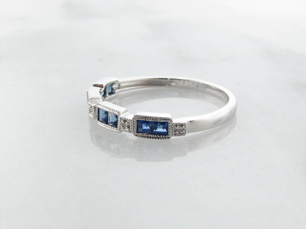 Vintage Sapphire Diamond Band White Gold Stacking Ring, Orient Express
