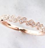 Vintage Rose Gold Diamond Stacking Ring, Hearts Aflutter
