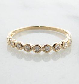 Vintage Yellow Gold Diamond Bezel Ring, Moon Phases