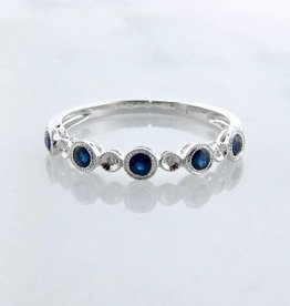 Vintage White Gold Milgrain Diamond Blue Sapphire Stacking Ring, Ellipses