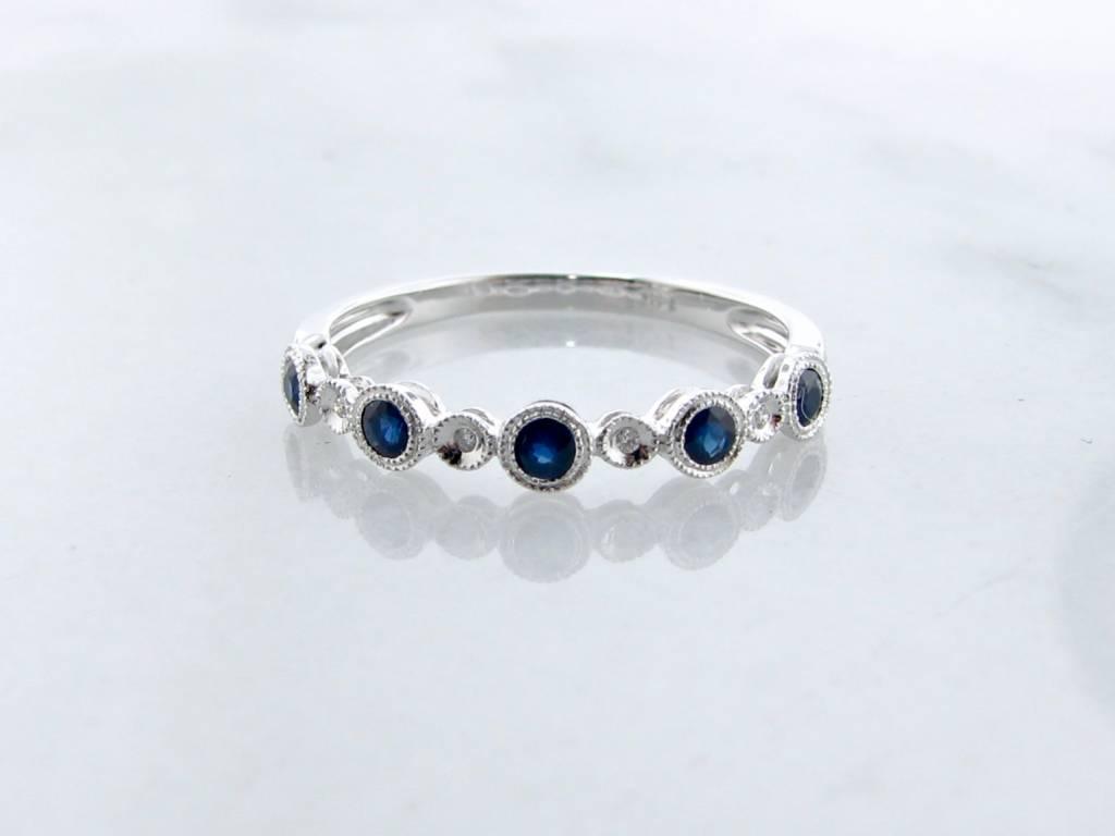 Vintage White Gold Milgrain Diamond Blue Sapphire Stacking Ring, Ellipses