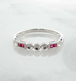 Vintage White Gold Diamond Princess Cut Ruby Stacking Ring, Diadem