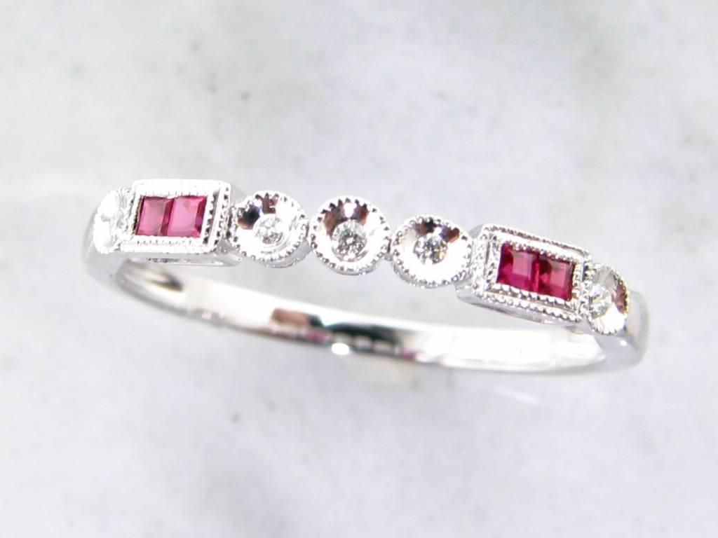 Vintage White Gold Diamond Princess Cut Ruby Stacking Ring, Diadem