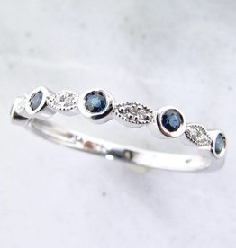 Vintage White Gold Diamond Milgrain Blue Sapphire Stacking Ring, Tempo