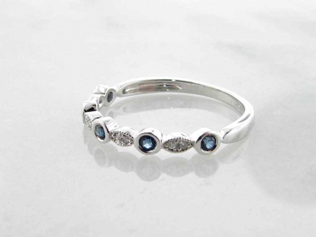 Vintage White Gold Diamond Milgrain Blue Sapphire Stacking Ring, Tempo