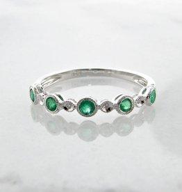 Vintage White Gold Diamond Milgrain Emerald Stacking Ring, Ellipses