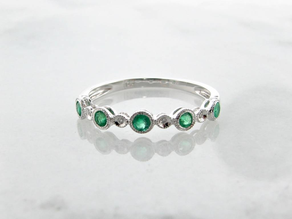 Vintage White Gold Diamond Milgrain Emerald Stacking Ring, Ellipses