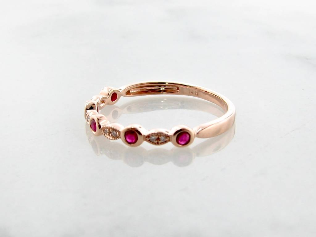 Vintage Rose Gold Diamond Milgrain Ruby Stacking Ring, Tempo