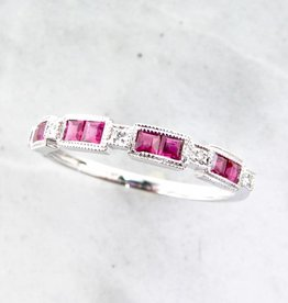 Vintage White Gold Diamond Princess Cut Ruby Ring, Orient Express
