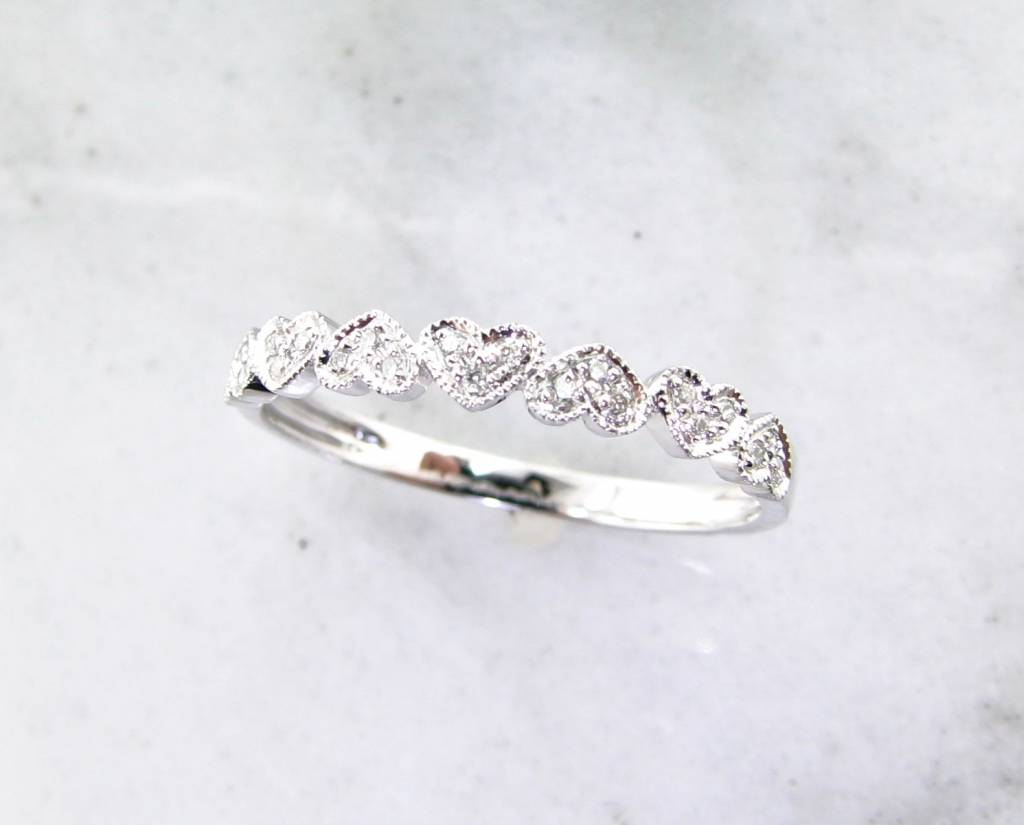 Vintage White Gold Diamond Stacking Ring, Hearts Aflutter