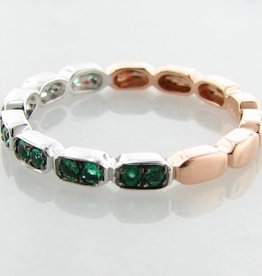 Vintage Rose White Gold Two Tone Emerald Stacking Ring, Gondola
