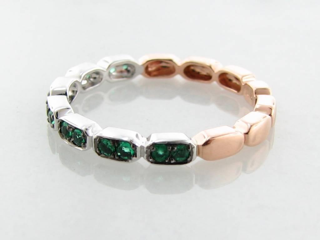 Vintage Rose White Gold Two Tone Emerald Stacking Ring, Gondola