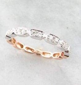 Vintage Rose White Gold Two Tone Diamond Stacking Ring, Gondola