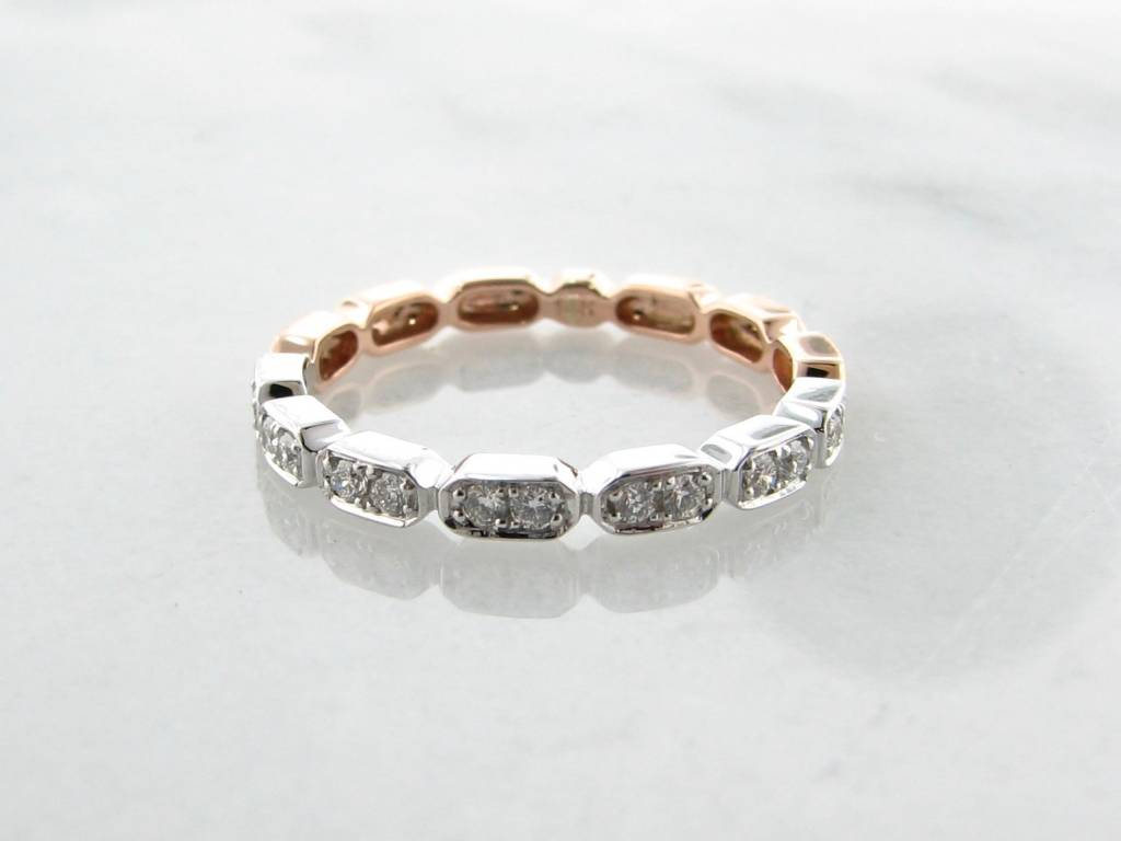 Vintage Rose White Gold Two Tone Diamond Stacking Ring, Gondola