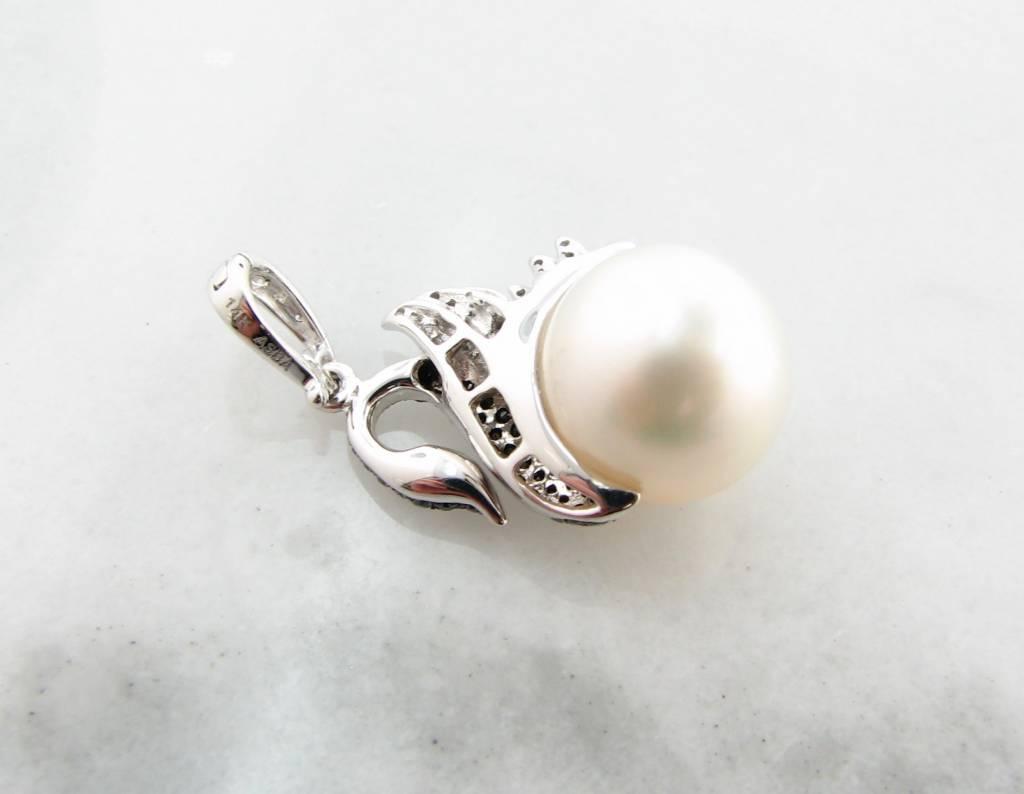 Organic White Gold Black White Diamond Pearl Enhancer Pendant, Swan