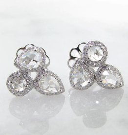 Vintage 18K White Gold Rose Cut Diamond Earrings, Versailles