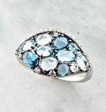 Motion Blue Topaz Diamond White Gold Ring, Tide Pool
