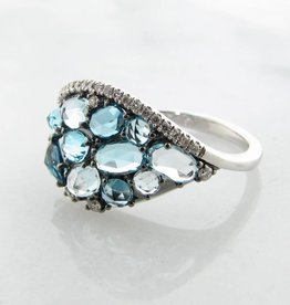Motion Blue Topaz Diamond White Gold Ring, Tide Pool