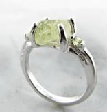 Organic Yellow Green Raw Demantoid Garnet Peridot Silver Ring, Springtime
