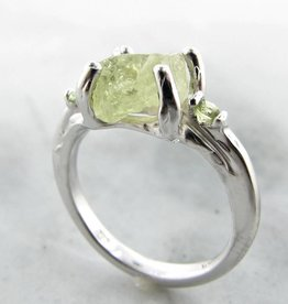 Organic Yellow Green Raw Demantoid Garnet Peridot Silver Ring, Springtime