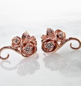 Signature Rose Rose Gold Diamond Earrings, Rosebud Vine