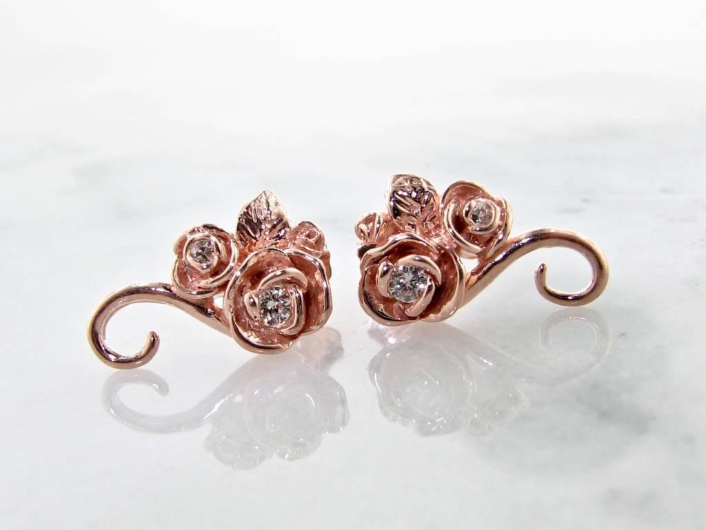 Signature Rose Rose Gold Diamond Earrings, Rosebud Vine