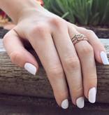 Vintage White Gold Diamond Milgrain Ruby Stacking Ring, Ellipses