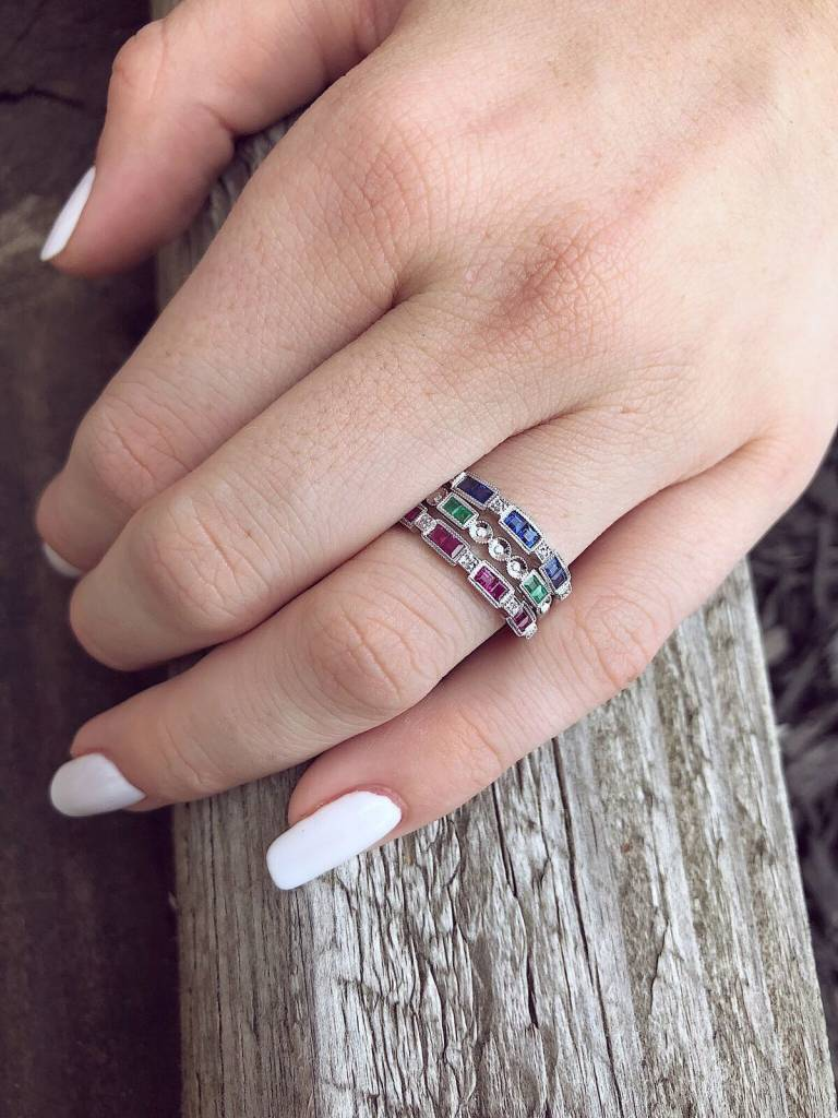 White Gold Diamond Princess Cut Ruby Ring, Orient Express $450 ...